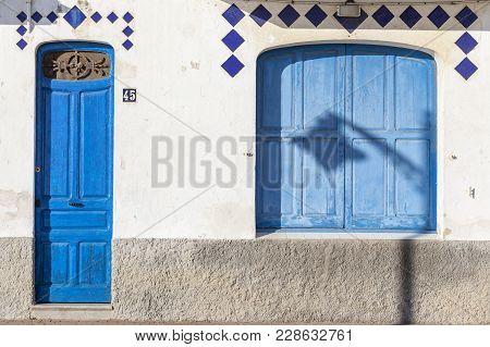 El Vendrell,spain- December 21,2017:detail Facade Building, Mediterranean Colors Typical Maritime Ho