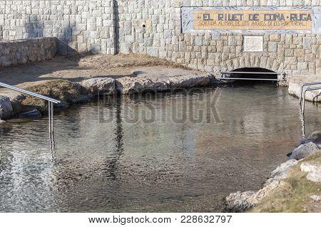 El Vendrell,spain- December 21,2017: Thermal Pond, El Riuet De Coma-ruga,maritime Neighborhood Of El