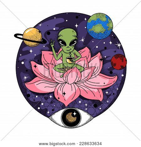 Funny Alien Sits On A Pink Jug And Drinks Coffee In Space. Sacred Illustration With Planets And A Th