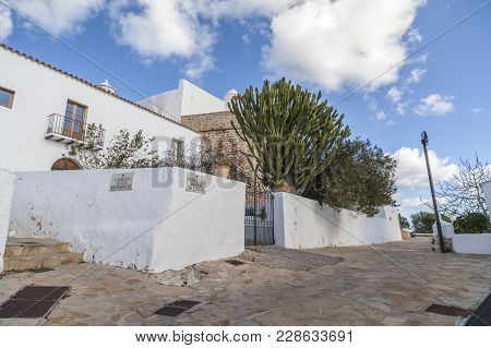Santa Eularia Des Riu, Spain- January 12, 2018: Typical Balearic Houses Street In Hill Of Puig De Mi