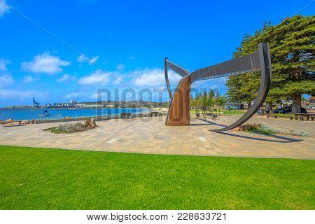 Esperance, Australia - Dec 26, 2017: Esperance Waterfront. Whale Tail Sculpture, On The Beachside At
