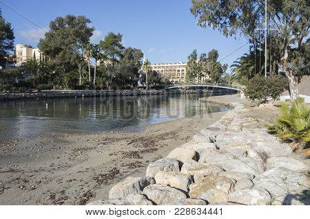 Santa Eularia Des Riu, Spain- January 12, 2018: River View, The Only River On The Island.santa Eular