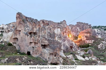Unique Geological Formations At Twilight In Cappadocia, Central Anatolia, Turkey