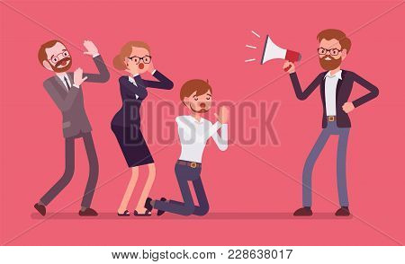 Office Despot Boss. Male Ruler With Absolute Power And Authority, Crying With Megaphone In A Cruel A