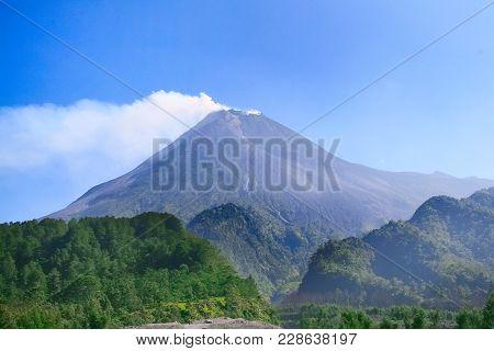 Mount Merapi, Gunung Merapi Active Volcano In Central Java And Yogyakarta, Indonesia