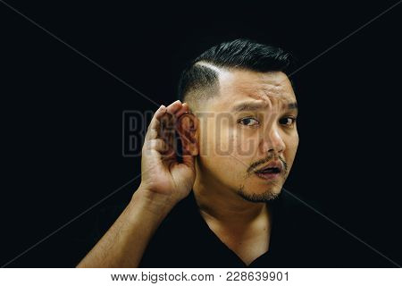 Asian Man Deaf Hearing For Listening In Dark Style