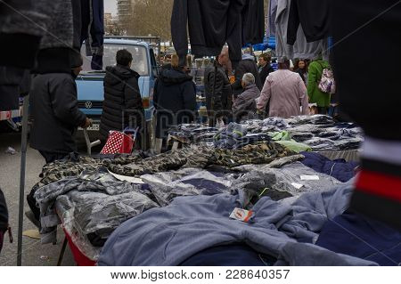 Xanthi, Greece - February 17 2018: Street Vendors Selling Products At Large Bazaar Market. Open Air