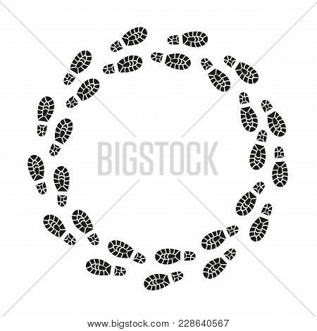 Black Footprints Silhouette Round Design Template Texture Pattern Pairs Shoes. Vector Illustration O