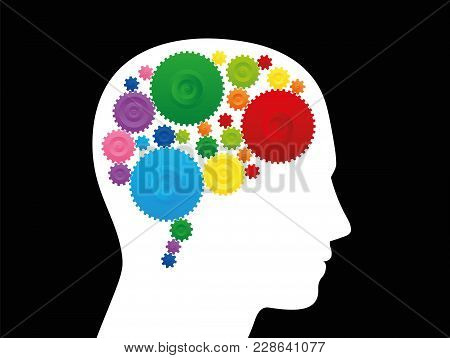 Thinking Brain. Intelligence, Creativity And Ingenuity Depicted With A Brain With Colorful Cog Wheel