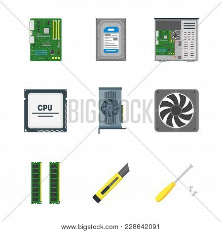 Cartoon Personal Computer Components On A White Circuit Board Element Device Concept Flat Design Sty