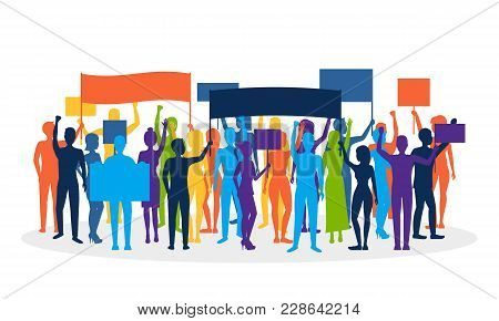 Cartoon Silhouette Color Protesting Crowd Demonstration, Picket Or Conflict Action Culture Concept F