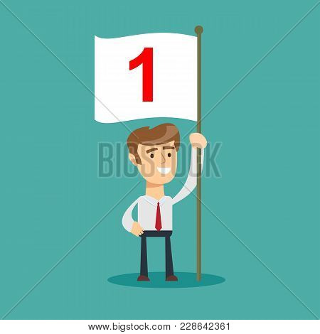 Happy Caucasian Business Man With Number One Flag . Business Concept. Stock Flat Vector Illustration
