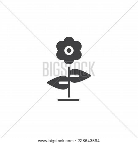 Flower Vector Icon. Filled Flat Sign For Mobile Concept And Web Design. Floret With Leaves Simple So