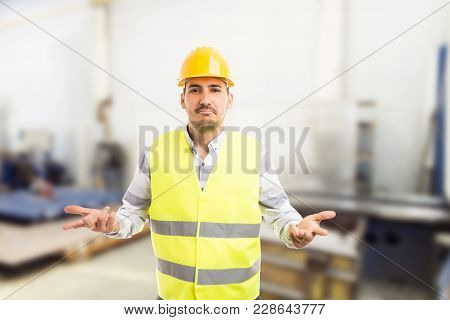 Perplexed Workman Asking Gesture.