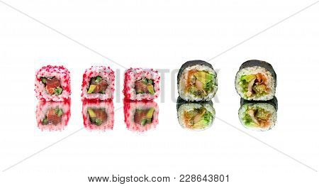 Japanese Sushi And Rolls Isolated On White Background. Horizontal Photo.