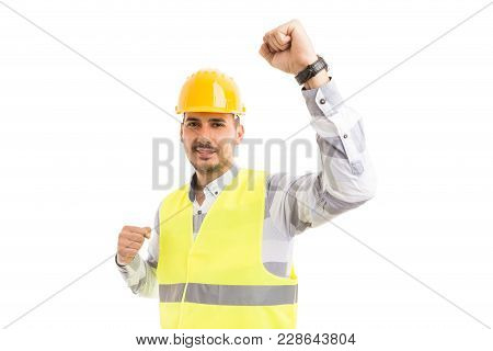 Successful Engineer Architect Or Builder Acting Happy And Cheerful.