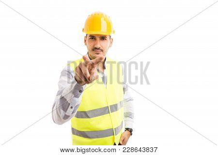 Builder Or Worker Making I'm Watching You Gesture.