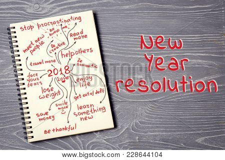 Scheme Of New Year Resolution On Notepad