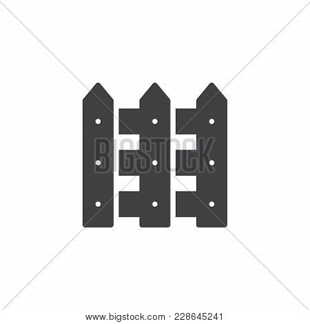 Wood Fence Vector Icon. Filled Flat Sign For Mobile Concept And Web Design. Picket Fence Simple Soli