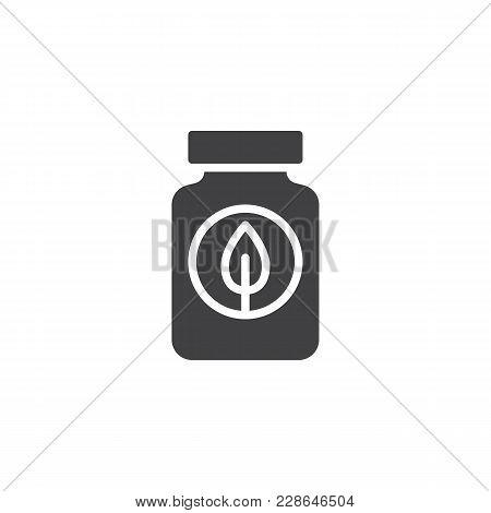 Fertilizer Bottle Vector Icon. Filled Flat Sign For Mobile Concept And Web Design. Jar With Leaf Sim