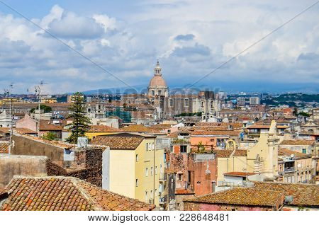 View Of The Rooftops Of The City Of Catania On Sunny Day On Island Of Sicily, Italy