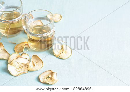 Dried Fruits Compote. Glass Cups With Drink From Dried Fruits, Apples, Meats, Raisins With Sugar. A