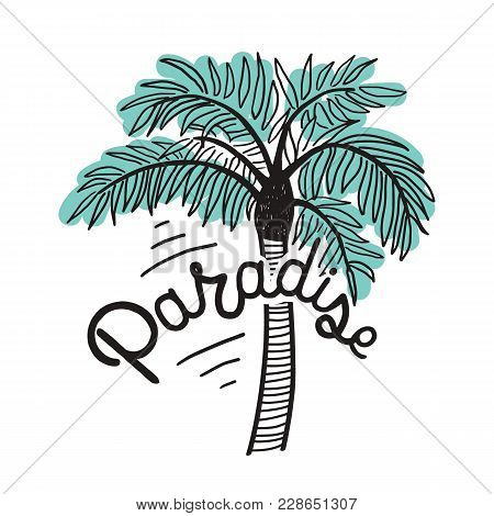 Paradise Inscription Written With Cursive Calligraphic Font And Exotic Palm Isolated On White Backgr