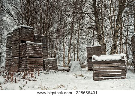 Wooden Crates Piled By The Birch Trees At The Northern Finland. These Crates Are Typically Used For