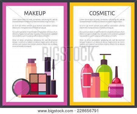 Makeup And Cosmetic Posters Framed Vector Illustration With Text Sample, Various Creams And Powder,