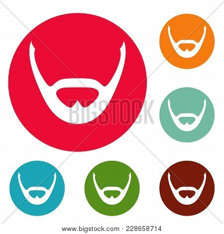 Beard And Whiskers Icons Circle Set Vector Isolated On White Background