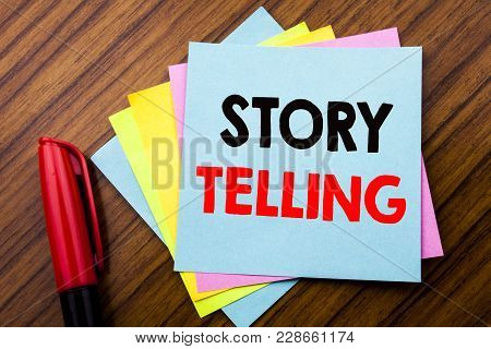 Handwriting Announcement Text Storytelling.  Concept For Teller Story Message Written On Sticky Stic
