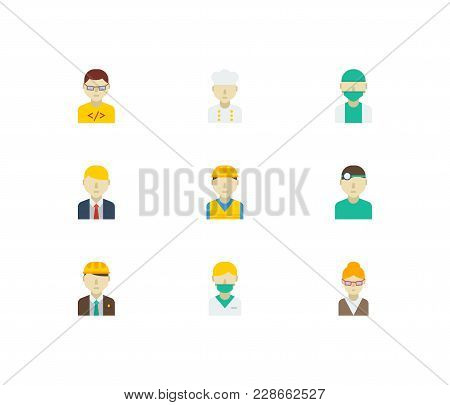 Occupation Icons Set With Doctor, Computer Programmer And Manager Elements. Set Of Occupation Icons
