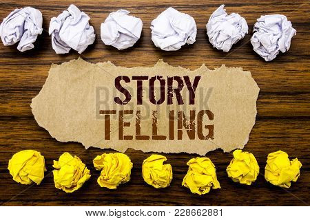 Conceptual Hand Text Word Storytelling. Business Concept For Teller Story Message Written On Sticky,