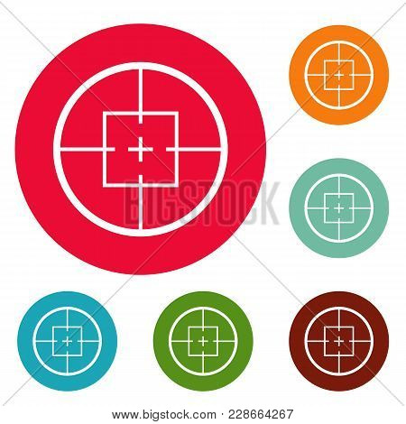 Aiming Device Icons Circle Set Vector Isolated On White Background