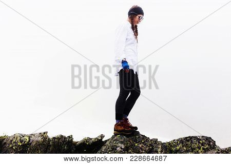 Young Traveler Woman On A Walk.