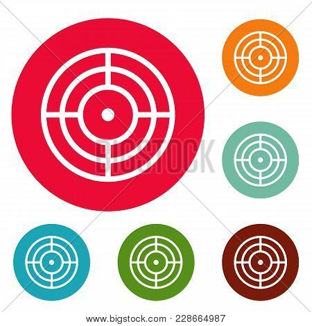 Objective Of Target Icons Circle Set Vector Isolated On White Background