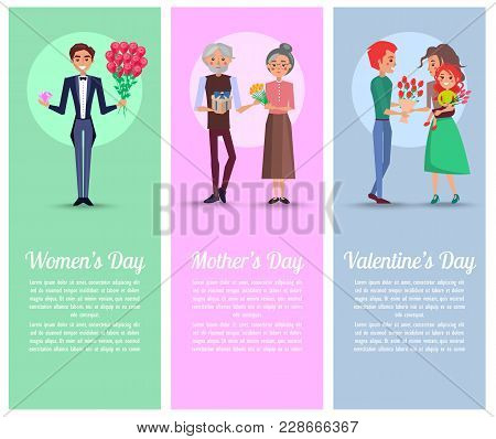 Men And Grandpa Holds Gift With Blue Ribbon, Pink Diamond And Bouquets Of Flowers For Women On Color