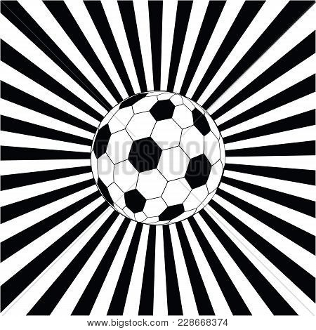 Soccer Ball In Against The Background Of Black And White Divergent Rays - Art Illustration, Vector