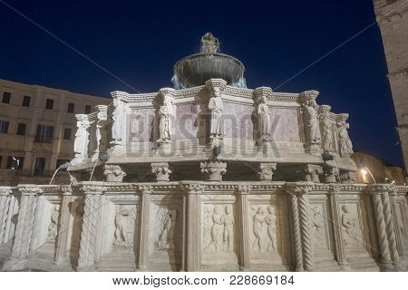 Historic Buildings Of Perugia, Umbria, Italy, At Evening. Fountain