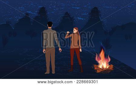 Night Mountain Landscape, Milky Way, Bonfire Bright, Man And Woman - Art Creative Illustration Vecto