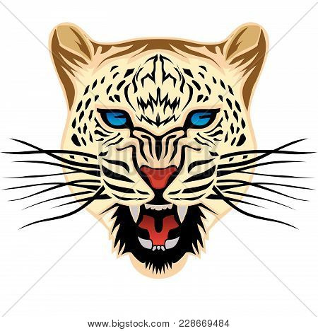 Artwork Of The Leopard Head Illustration Isolated On White