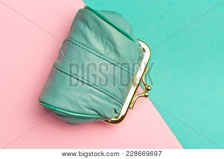 Purse For Coins.wallet For Change. Leather  Wallet On Geometric Pink And Turquoise Background. Color