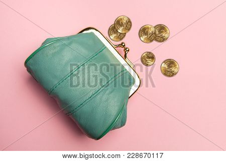 Purse For Coins.wallet For Change. Leather Purse, Purse On A Pink Background. Color Of The Trend.the