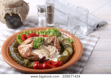 Meat With Horse-radish Sauce And  Vegetables. Tasty Pork