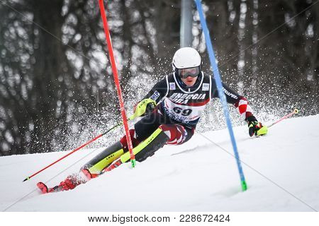 Zagzagreb, Croatia - January 4, 2018 : Rodes Istok Of Cro Competes During The Audi Fis Alpine Ski Wo