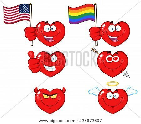Red Heart Cartoon Emoji Face Character 3. Collection Isolated On White Background
