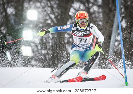 Zagreb, Croatia - January 4, 2018 : Salarich Joaquim Of Esp Competes During The Audi Fis Alpine Ski