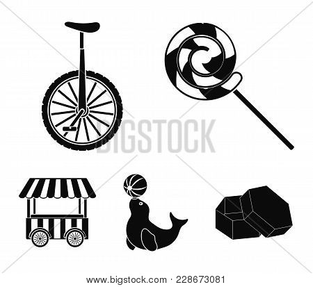 Lollipop, Trained Seal, Snack On Wheels, Monocycle.circus Set Collection Icons In Black Style Vector