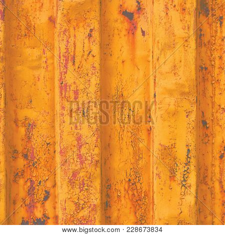 Yellow Grunge Sea Freight Container Background, Dark Rusty Corrugated Pattern, Red Primer Coating, V