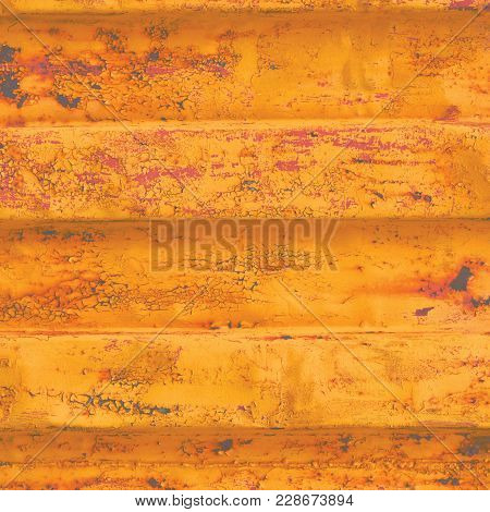 Yellow Grunge Sea Freight Container Background, Dark Rusty Corrugated Pattern, Red Primer Coating, H